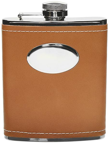 Peterson Flask Tan Leather with Plate (6oz)