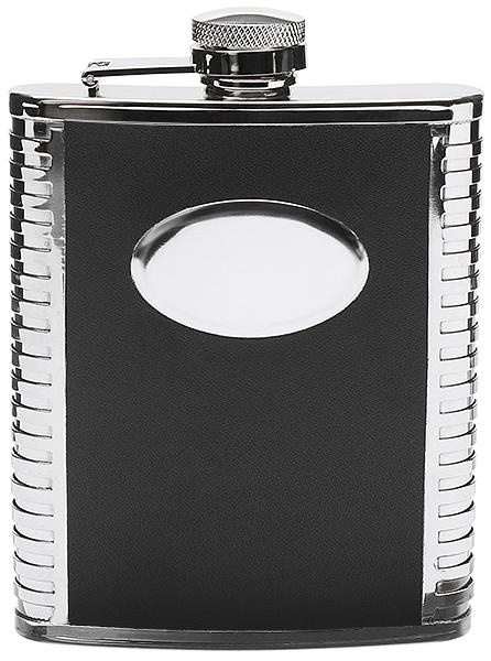 Peterson Flask Black Engine Turned (6oz)
