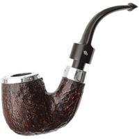 Peterson House Pipe Rusticated Silver Cap Bent P-Lip (9mm)